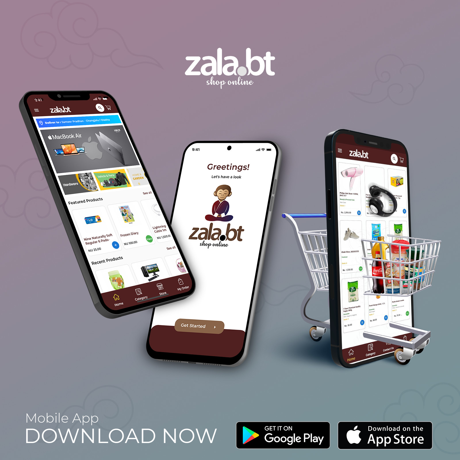 Download the zala.bt mobile app now!